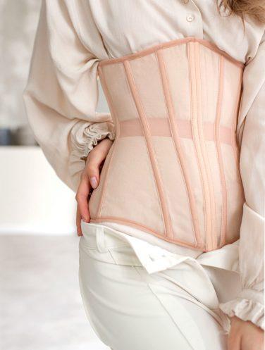 beige underbust corset