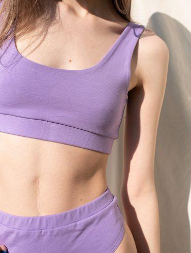 lilac sport bra and briefs